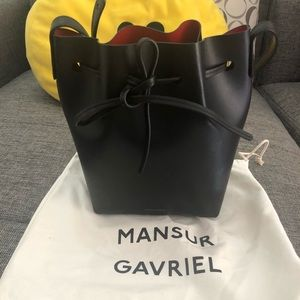Mansur Gavriel Black Red Mini Bucket Bag